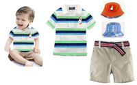 free shipping New Design Handsome childrens casual clothing fashion baby boys cotton striped shirt + shorts+ hats 3pcs suit