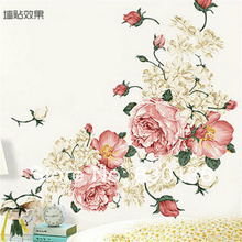 Free shipping Peony flowers rich / Chinese wind background wall can remove stickers90CM*60CM(China (Mainland))