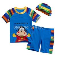 Vivo-biniya Boy's Swimming Suits Children Swimsuit Infant Cartoon Animal Bathing Suit + Swimming Cap 3 Piece Sets free shipping