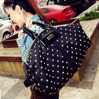 2014 Fashion Women Rivets Hobos Punk Shoulder Bag Black Totes Lady Messenger Handbag Bolsa Nylon Travel Totes Femininas