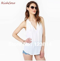 New 2013 T Shirt Women Crop Top Chiffon V-Neck Collar Loose Tank Vest Tube Autumn -Summer Top Dropship Free Shipping D191