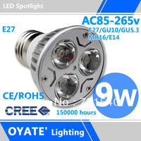 Cree,ceiling spot,9w ,Free shipping,Hot,AC85-265V,E27/E14/MR16/GU10/GU5.3,Warm white/Cool white,LED Light Bulbs,CE&RoHS