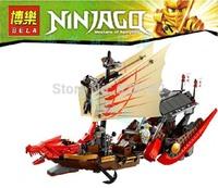 BELA 9762 680pcs large Ninjago Phantom Ninja minifigures Large Dragon Boat building block sets eductional Jigsaw children toys