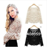 2013 autumn Sexy Women Sheer Floral Lace Crochet Blouse Sleeve Embroidery Women Blouse Basic T-Shirt Top T shirt free shipping