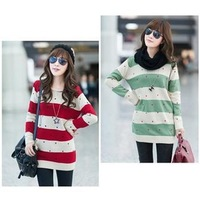 2013 new spring Korean version maternity sweater small heart shape stripe, curling collar, bottoming shirt knitwear