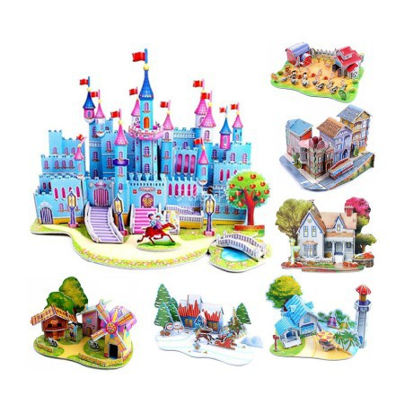 2014 Hot Selling Puzzles Kids Educational Toys DIY 3D Jigsaw Puzzle For Children Adults House Castle 16 Models Free Shipping(China (Mainland))