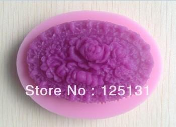 Free shipping  1PCS rose flower Handmade soap silicone mold , fondant cake chocolate candle moulds, cake decorating mould