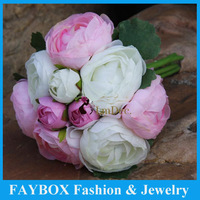 10 heads Bunch Silk fabric Simulation Artificial flower Camellia Rose Romantic pink Bridesmaid Wedding Bridal bouquet