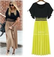 SALE! XXXL New 2014 summer Plus Size Women's fashion High Waist Ruffle Sleeve Sexy Vintage Long Chiffon maxi Yellow Dress 204