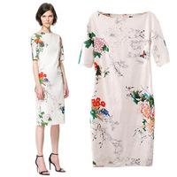 Free Shipping 2013 new summer new printing cheongsam dress short sleeve cheongsam dress evening dress
