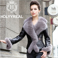 2013 fashionable women's top genuine sheepskin leather jacket with real fox fur collar cotton liner short coat for winter M-XXXL