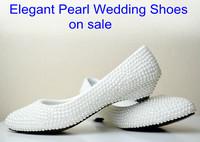 women flats 2014 new arrival elegant bridal shoes white pearl wedding shoes flat wedding shoes flat shoes