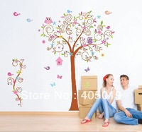 "Free Express Giant 170*180cm (67""x71"") JM7250AB Owl Tree Wall Stickers Home Decor Large !!!2pc=1set SGS Approved Removable PVC"