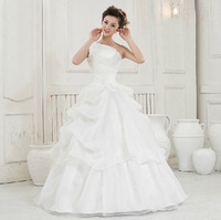 Wholesale Price 2014 Lace Up One Shoulder Strap Wedding Dresses Embroidered Lace Fashion Gown Romantic Princess Sweet Slim Dress