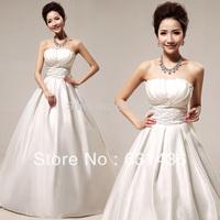 Wholesale Price 2014 Romantic Fashion Gown Zipper Princess White Wedding Dresses Tube Top Bow Dress High Quality Drop Shipping