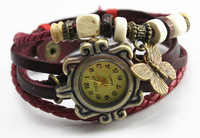 Free shipping - hot 2013 Women dress watches bracelet watch butteryfly pendant Genuine cow leather quartz wristwatches