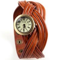 2014 Women Braided Bracelet Genuine Cow leather watches,8 colors ladies dress luxury quartz wristwatch free shipping JC1025