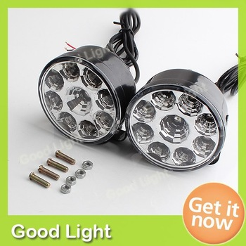 Pair  Bright White 9LED Car DRL Driving Daytime Running Day LED Fog Light Head Lamp