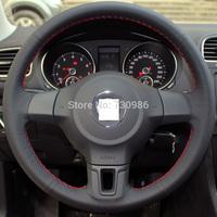 XuJi Black Genuine Leather Steering Wheel Cover for Volkswagen Golf 6 Mk6 VW Polo Sagitar Bora Santana Jetta