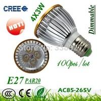 HOT 100X  High Quality  LED Light  PAR 20 12W 4X3W Spotlight E27(110V 220V )Cool White Warm White PAR20 Free Shipping
