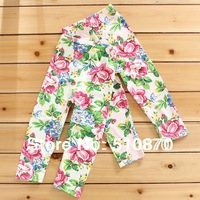 HB353 Free shipping 2014 new fashion baby girl legging,flower kids pants,children boots pants,wholesale retail,honey baby