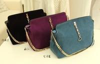 hot 2014 women's genuine leather handbag nubuck leather chain bag fashion women messenger bag women handbag free shipping