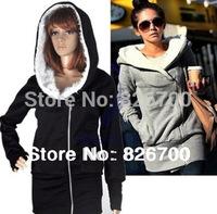 Free Shipping 4Colors Korean Women Hoodies Coat Warm Zip Up Fleece Outerwear Sweatshirts # J0016