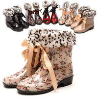 2013 Hot popular Sweet Women Rain Boots Warm Snow Boots with Fur Bow Lace Up Women Shoes Leopard Decorated Ankle Boots