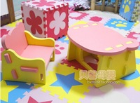 New kids foam EVA learning table + chair set, cool dinette set, international quality Cert. baby chair set, free shipping