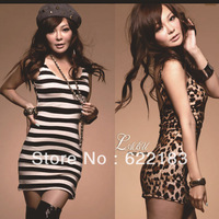 Dress for summer wear 2013 new fashion sexy club evening Leopard print Black Streak backless Tight mini dress 1398