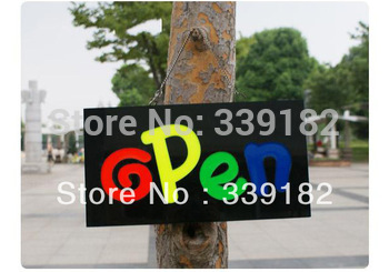 Open LED Display Sign With Neon Effect  Flashing  Switch Function Free Shipping Size 43*23*4cm