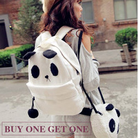Free Shipping Girls / Ladies / Womens Canvas Backpack Schoolbag Bookbag  Shoulder  Knapsack Rucksack cute panda