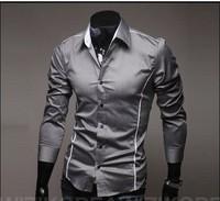 HOT best brand long sleeve casual plaid checked dress wholesale tuxedo shirts for men designer white/black