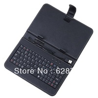 "Free Shipping USB2.0 Hot Sale Black 9.7"" Tablet Case Keyboard Anti-Dust Leather Cover USB Bag For MID PDA With Pen"