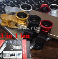 mobile phone universal 3 in 1 Fisheye Len + Macro + Wide clip fish eye lens for Htc LG Motorola iphone 4 4s 5 5s 6 plus samsung