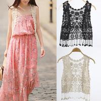 Fashion geometric for women clothing Cotton Tassel Crochet Hollow Open Vest Cardigan Top Waistcoat Women women t-shirt  2 Colors