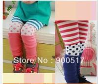 Girls leggings children fashion pants kids autumn trousers personality Pour point and stripe Pant hzggzsz 14