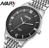 6019# Business Men Watches Quartz Watch Stainless band Calendar Wristwatch Uhr/Voir/horloge/hodinky/Gledaj/Assista/Klocka/Guarda
