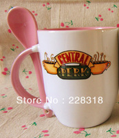 New Free Shipping Six Friends Central Perk Ceramic Coffee Mug Pink Color 3 ---Loveful