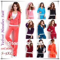 Brand Women/Girls Sport Suit Set 10Colors S--5XL Plus Size,  Slim Comfortable Leisure 2 pieces Hoodies   #JM06700--Free Shipping