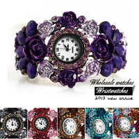 Free Shipping Wholesale Fashion Alloy Rhinestones Colorful Flower Bracelet Watches  Women Quartz Wristwatches For Gift