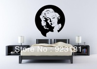 Free Shipping Portrait of Marilyn Monroe Wall Art Stickers Decal DIY Home Decoration Wall Mural Removable Room stickers 60x60cm
