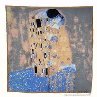 "100% Luxurious Satin Charmeuse Silk Scarf Gustav Klimt's ""The Kiss"" 1907 Hand Rolled Hem Square Scarf Shawl 34"" Gray/Blue/Beige"