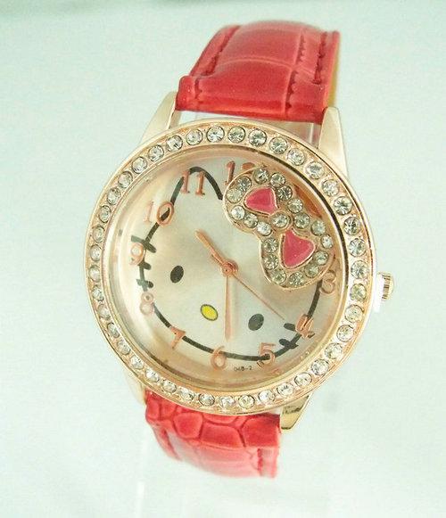 Holiday sale new arrival Cute Hello kitty watch Children women fashion crystal dress quartz wrist watch go033(China (Mainland))