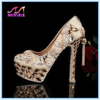 Free shipping! 12/14/16CM prom heels wedding shoes women high heels crystal high heel shoes platforms silver rhinestone pumps