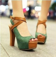 2013 fashion open toe sandals platform thick heel belt female ultra high heels shoes single shoes female