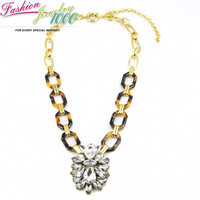 2014 New Vintage Brand Tortoise and Crystal Pendant Necklace Fashion Metal and Acrylic Chain Women Jewelry Free Shipping
