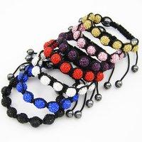 Lot X 3 pcs Bracelet charms crystal shamballa rhinestones disco balls beads free shipping