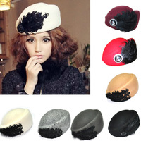 2013 New Autumn And Winter Europe And America Star Fan Bingbing Same Paragraph Retro Wild Temperament Solid Color Woolen Hat