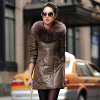 2013 Winter Fashion Solid Black Fox Fur Collar Real Sheepskin Leather Down Jacket  Slim Long Leather Outerwear Coat For Women